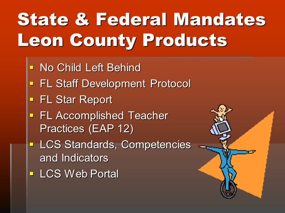 State & Federal Mandates Leon County Products No Child Left Behind No Child Left Behind FL Staff Development Protocol FL Staff Development Protocol FL Star Report FL Star Report FL Accomplished Teacher Practices (EAP 12) FL Accomplished Teacher Practices (EAP 12) LCS Standards, Competencies and Indicators LCS Standards, Competencies and Indicators LCS Web Portal LCS Web Portal