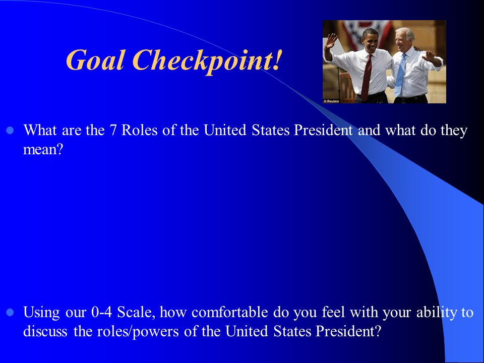 Goal Checkpoint! What are the 7 Roles of the United States President and what do they mean? Using our 0-4 Scale, how comfortable do you feel with your