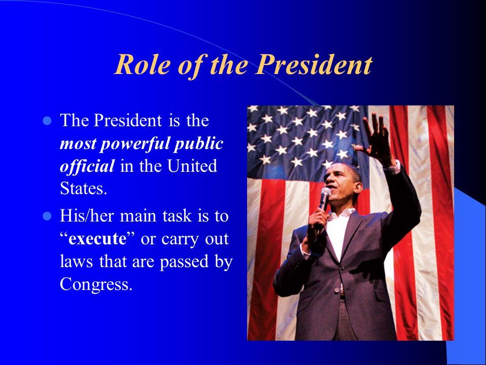 Role of the President The President is the most powerful public official in the United States. His/her main task is toexecute or carry out laws that a