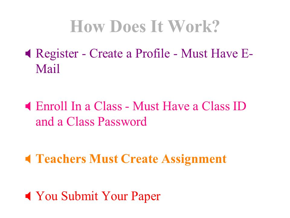 How Does It Work? Register - Create a Profile - Must Have E- Mail Enroll In a Class - Must Have a Class ID and a Class Password Teachers Must Create A