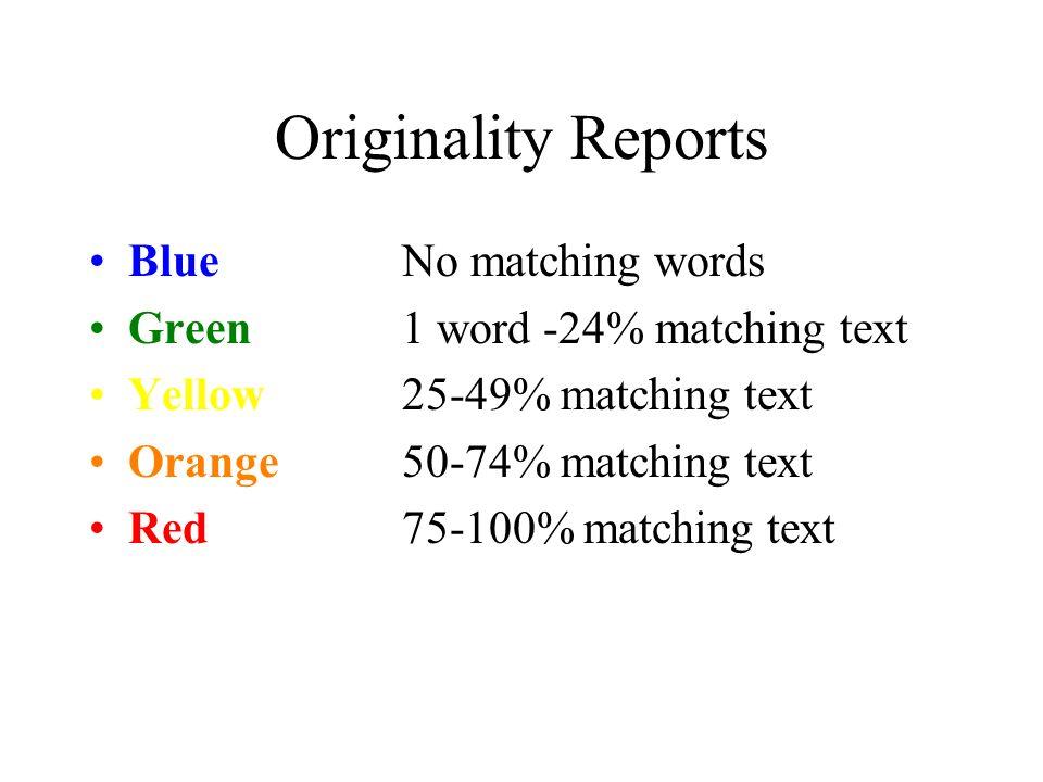 Originality Reports BlueNo matching words Green1 word -24% matching text Yellow25-49% matching text Orange50-74% matching text Red75-100% matching text