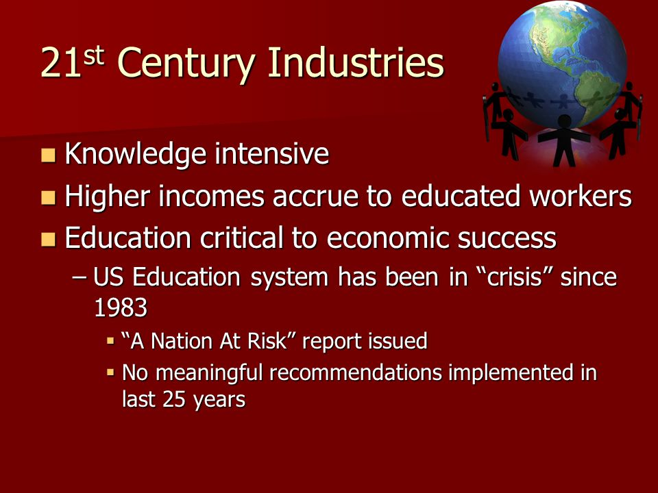 21 st Century Industries Knowledge intensive Knowledge intensive Higher incomes accrue to educated workers Higher incomes accrue to educated workers E