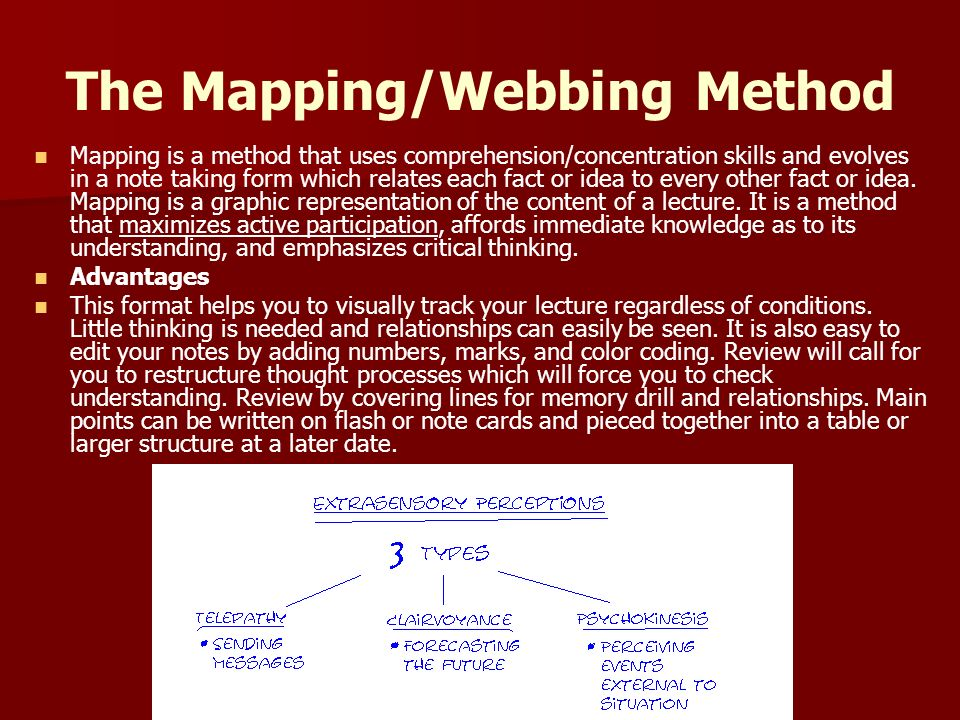 The Mapping/Webbing Method Mapping is a method that uses comprehension/concentration skills and evolves in a note taking form which relates each fact