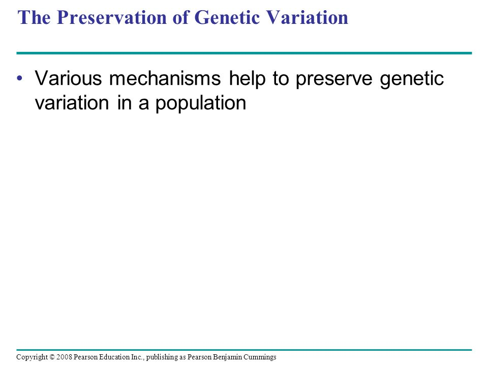 Copyright © 2008 Pearson Education Inc., publishing as Pearson Benjamin Cummings The Preservation of Genetic Variation Various mechanisms help to pres