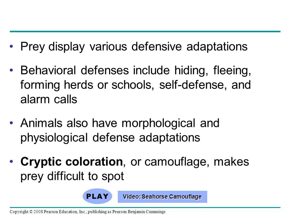 Copyright © 2008 Pearson Education, Inc., publishing as Pearson Benjamin Cummings Prey display various defensive adaptations Behavioral defenses inclu