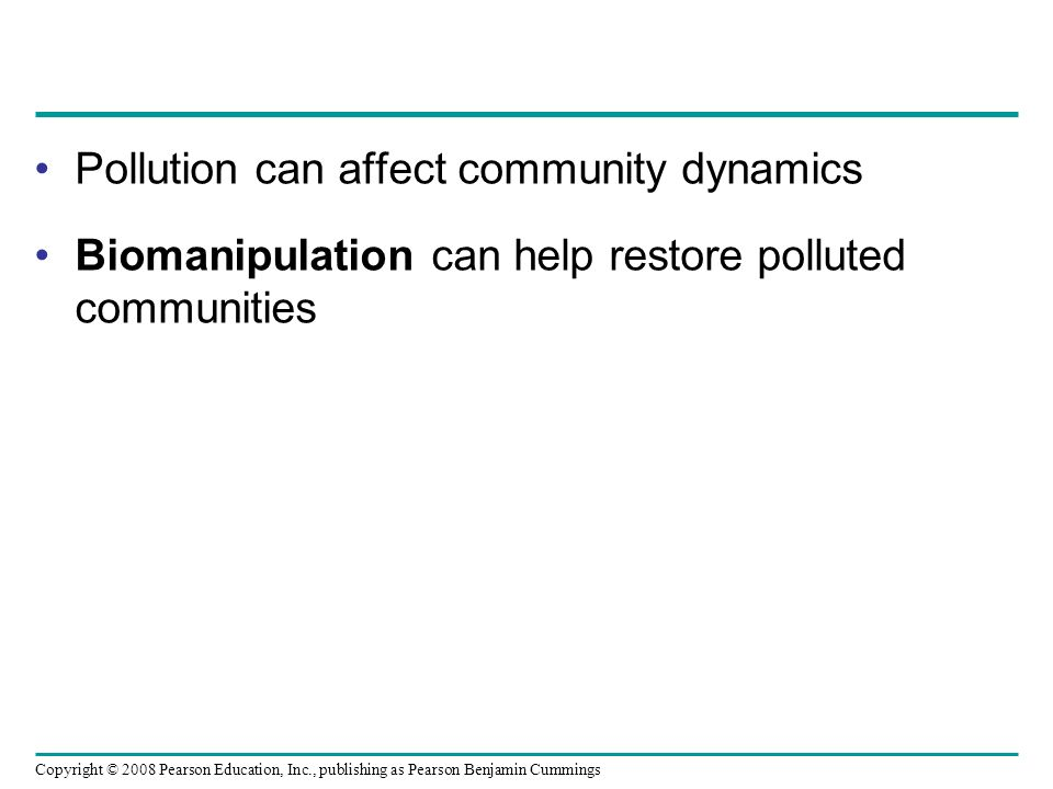 Copyright © 2008 Pearson Education, Inc., publishing as Pearson Benjamin Cummings Pollution can affect community dynamics Biomanipulation can help res