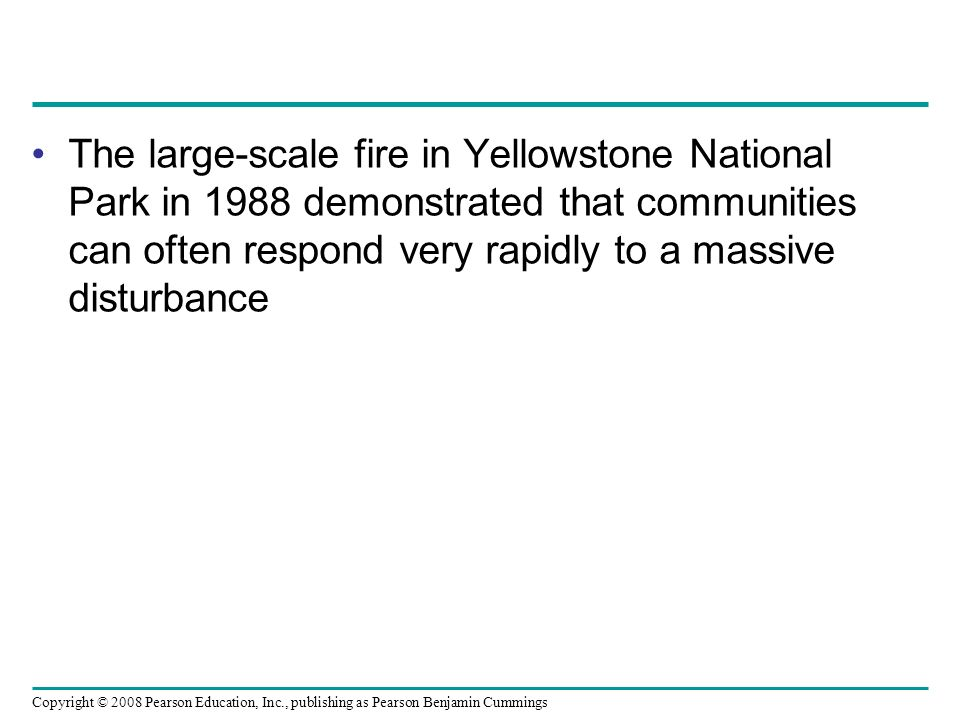 Copyright © 2008 Pearson Education, Inc., publishing as Pearson Benjamin Cummings The large-scale fire in Yellowstone National Park in 1988 demonstrat