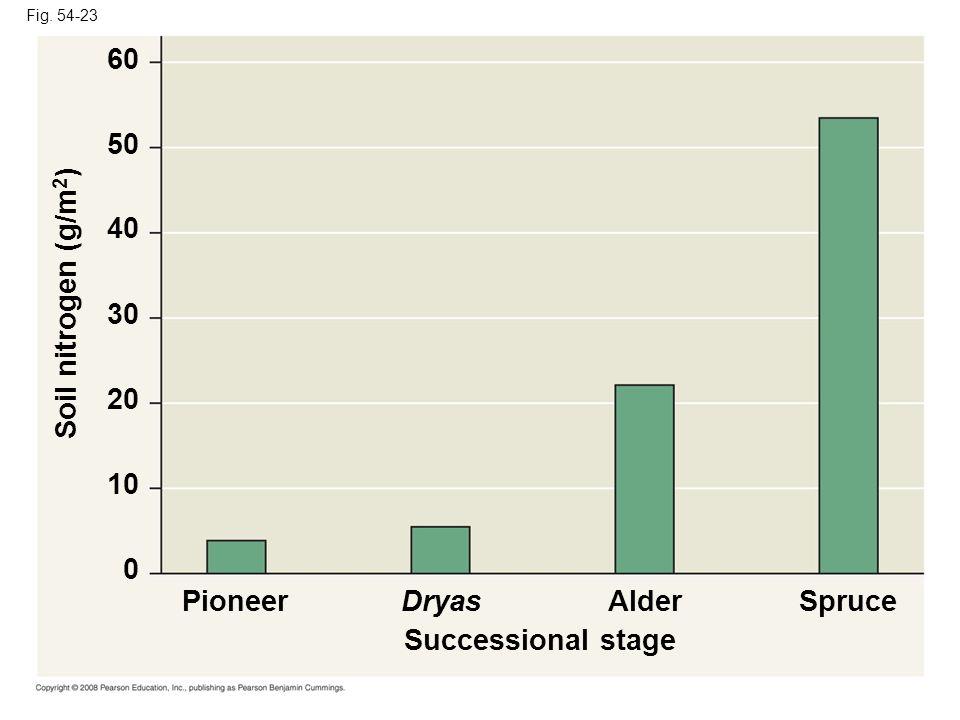 Fig. 54-23 Successional stage PioneerDryasAlderSpruce Soil nitrogen (g/m 2 ) 0 10 20 30 40 50 60