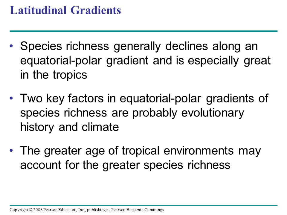 Copyright © 2008 Pearson Education, Inc., publishing as Pearson Benjamin Cummings Latitudinal Gradients Species richness generally declines along an e
