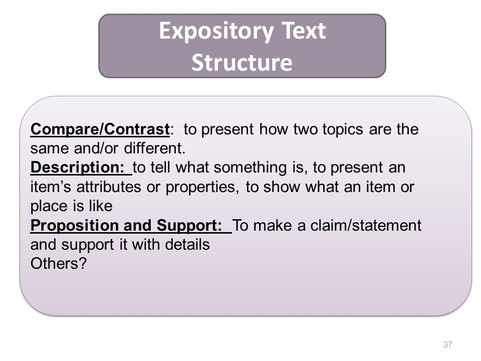 37 Expository Text Structure Compare/Contrast: to present how two topics are the same and/or different. Description: to tell what something is, to pre