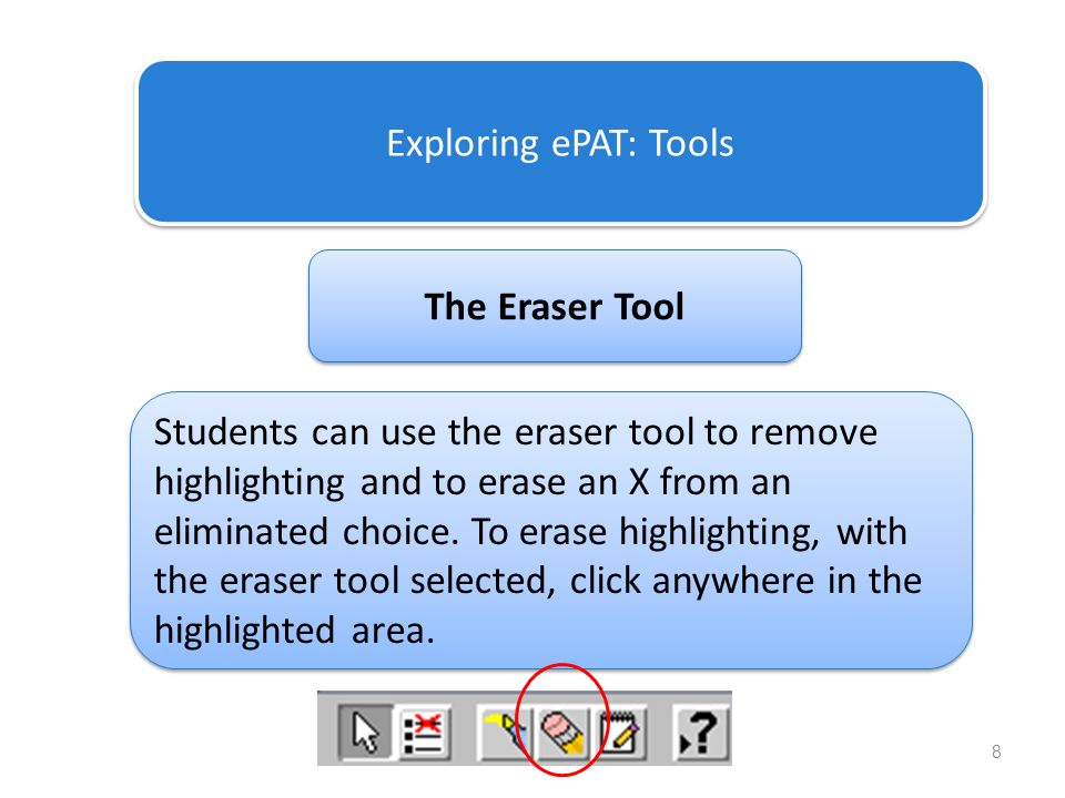 8 Exploring ePAT: Tools The Eraser Tool Students can use the eraser tool to remove highlighting and to erase an X from an eliminated choice. To erase