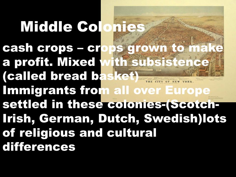 Middle Colonies cash crops – crops grown to make a profit. Mixed with subsistence (called bread basket) Immigrants from all over Europe settled in the