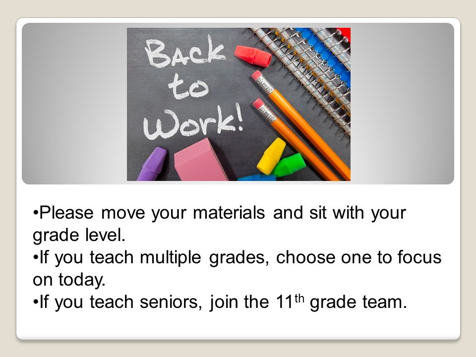 Please move your materials and sit with your grade level. If you teach multiple grades, choose one to focus on today. If you teach seniors, join the 1