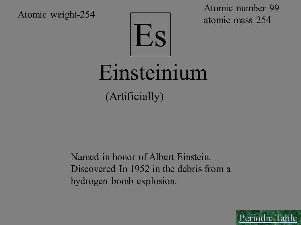 Einsteinium Es (Artificially) Atomic number 99 atomic mass 254 Named in honor of Albert Einstein. Discovered In 1952 in the debris from a hydrogen bom