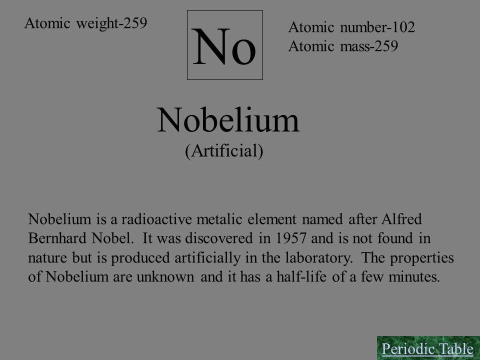 Nobelium No (Artificial) Atomic number-102 Atomic mass-259 Atomic weight-259 Nobelium is a radioactive metalic element named after Alfred Bernhard Nob