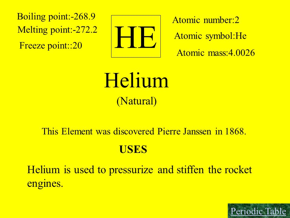 HE Boiling point:-268.9 Melting point:-272.2 Freeze point::20 Atomic number:2 Atomic symbol:He Atomic mass:4.0026 Helium (Natural) This Element was di