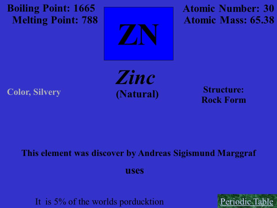 ZN Boiling Point: 1665 Melting Point: 788 Atomic Number: 30 Atomic Mass: 65.38 Zinc Color, Silvery (Natural) Structure: Rock Form This element was dis