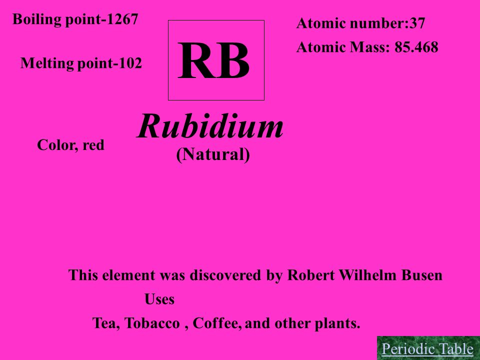 RB Boiling point-1267 Melting point-102 Atomic number:37 Atomic Mass: 85.468 Color, red Rubidium (Natural) This element was discovered by Robert Wilhe