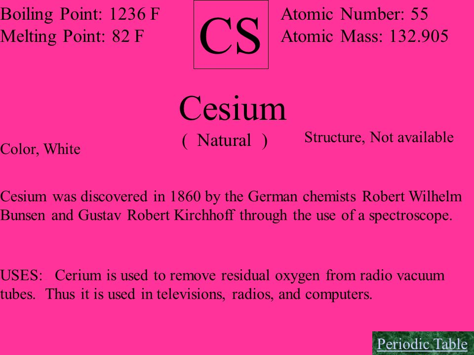 CS Boiling Point: 1236 F Melting Point: 82 F Atomic Number: 55 Atomic Mass: 132.905 Cesium ( Natural ) Color, White Structure, Not available Cesium wa