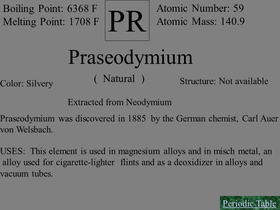 PR Boiling Point: 6368 F Melting Point: 1708 F Atomic Number: 59 Atomic Mass: 140.9 Praseodymium ( Natural ) Color: Silvery Structure: Not available E