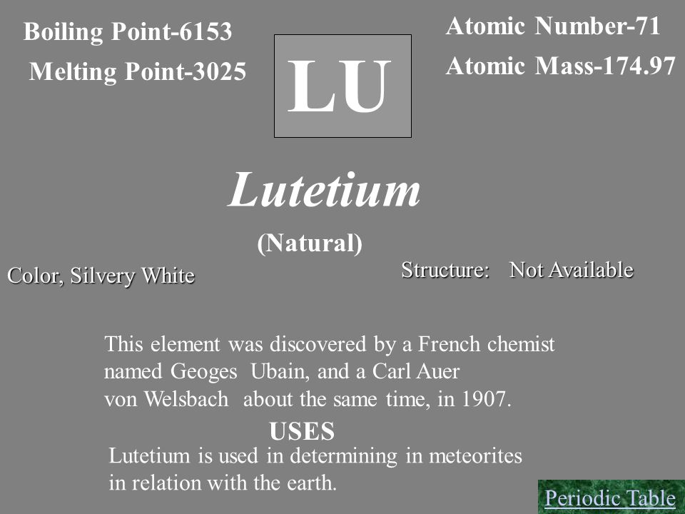 LU Boiling Point-6153 Melting Point-3025 Atomic Number-71 Atomic Mass-174.97 Lutetium (Natural) Color, Silvery White Structure: Not Available This ele