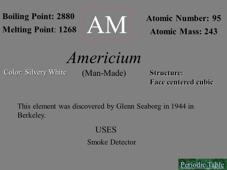 AM Boiling Point: 2880 Melting Point: 1268 Atomic Number: 95 Atomic Mass: 243 Structure: Face centered cubic Americium (Man-Made) This element was dis