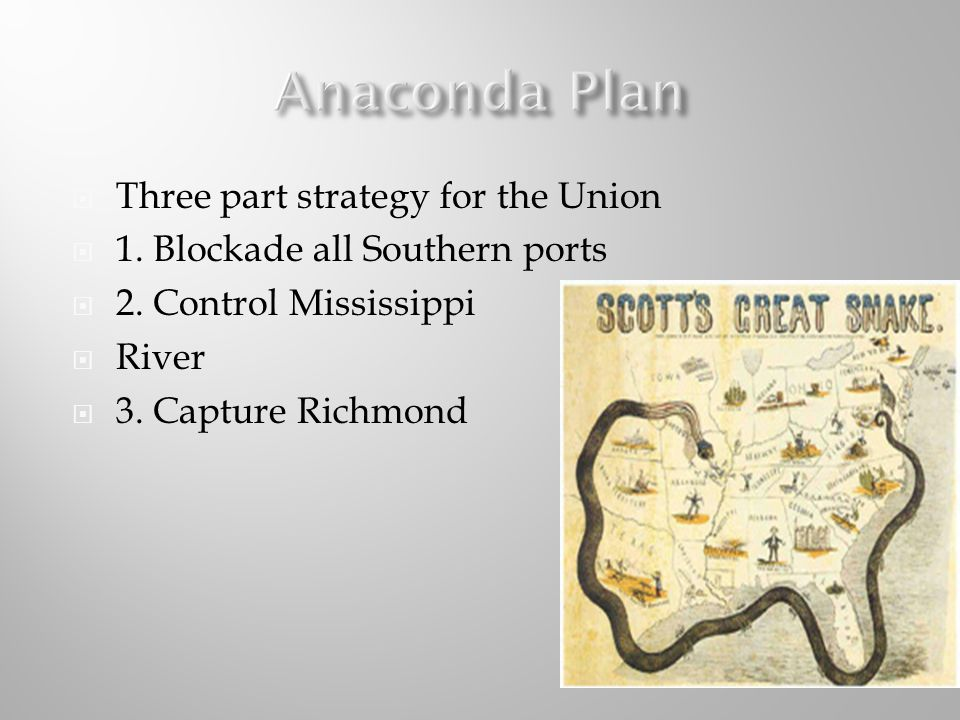 Three part strategy for the Union 1. Blockade all Southern ports 2. Control Mississippi River 3. Capture Richmond
