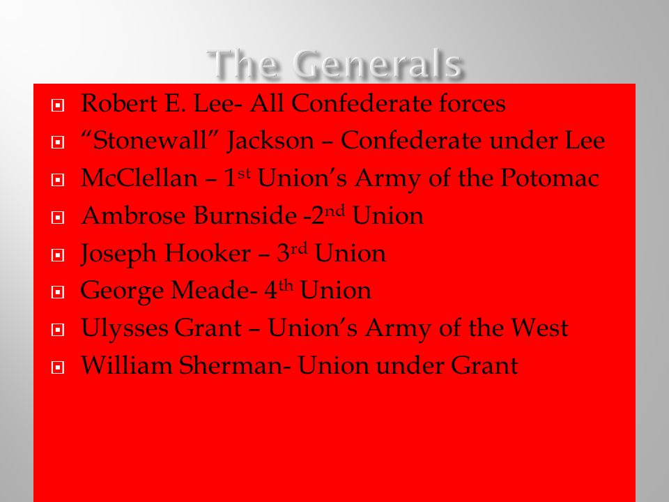 Robert E. Lee- All Confederate forces Stonewall Jackson – Confederate under Lee McClellan – 1 st Unions Army of the Potomac Ambrose Burnside -2 nd Uni