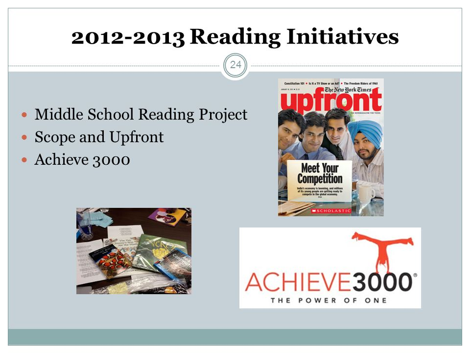 2012-2013 Reading Initiatives Middle School Reading Project Scope and Upfront Achieve 3000 24
