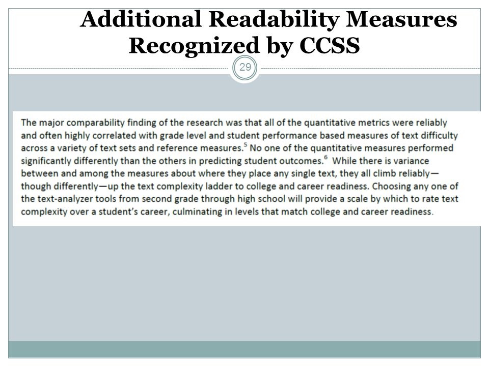 Additional Readability Measures Recognized by CCSS 29