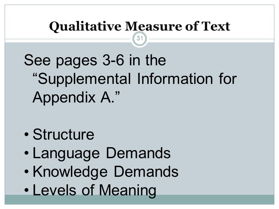 Qualitative Measure of Text 31 See pages 3-6 in the Supplemental Information for Appendix A. Structure Language Demands Knowledge Demands Levels of Me