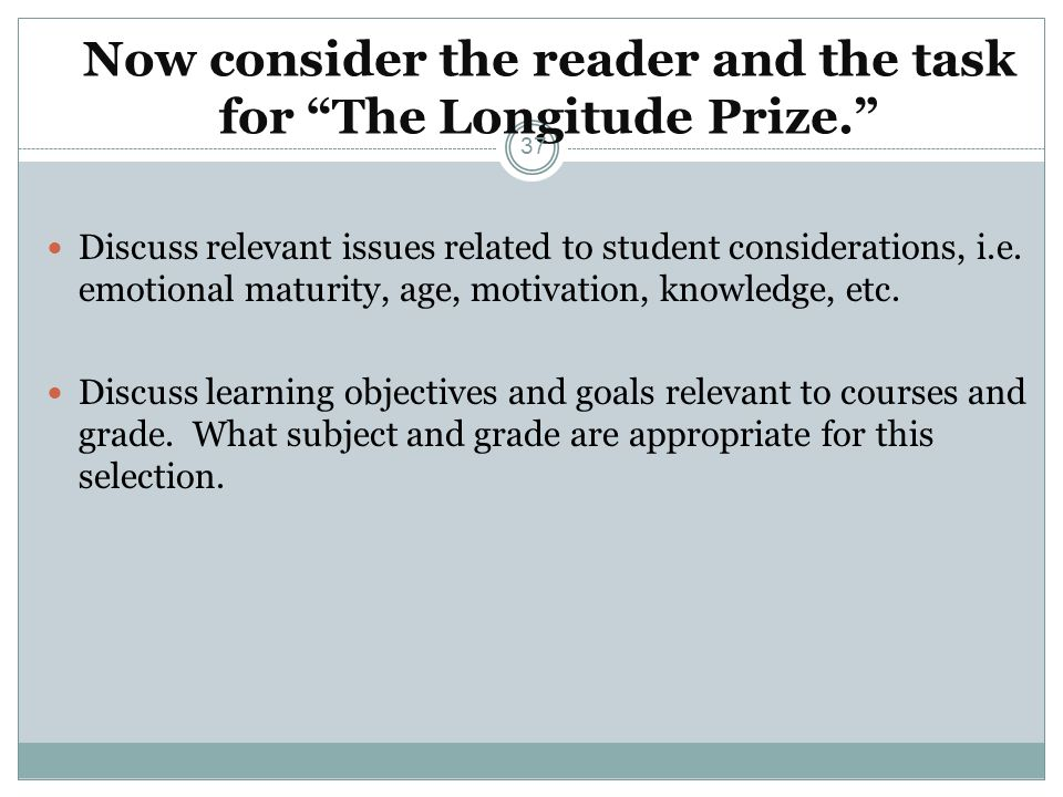 Now consider the reader and the task for The Longitude Prize.