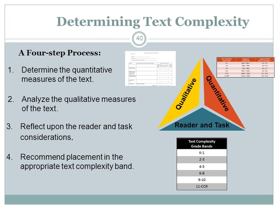 Determining Text Complexity A Four-step Process: Quantitative Qualitative Reader and Task 4.Recommend placement in the appropriate text complexity band.