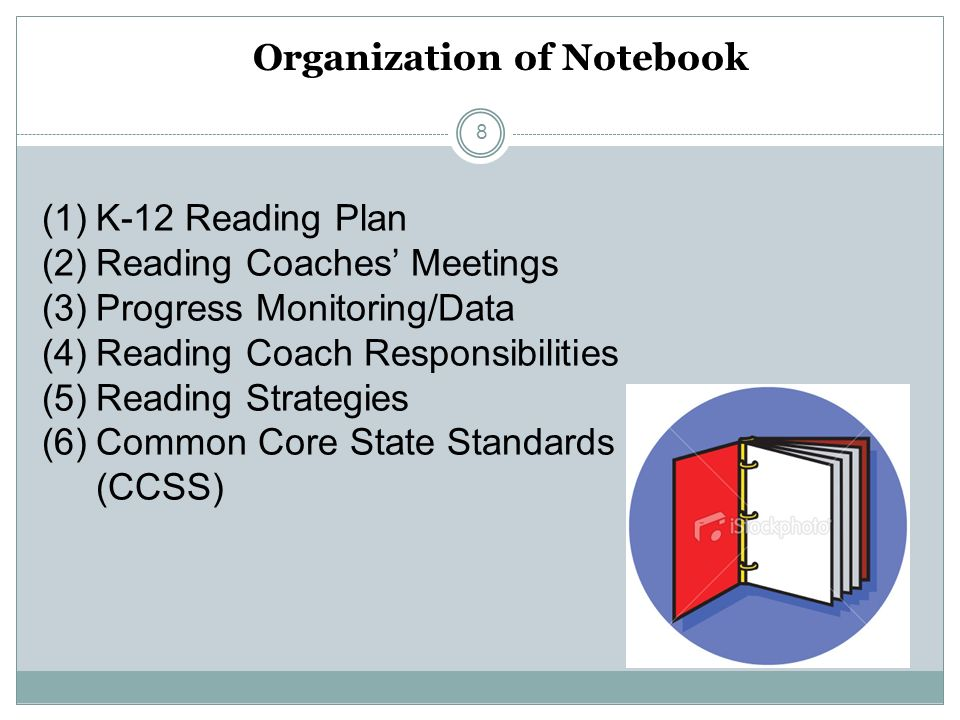 Organization of Notebook (1)K-12 Reading Plan (2)Reading Coaches Meetings (3)Progress Monitoring/Data (4)Reading Coach Responsibilities (5)Reading Str