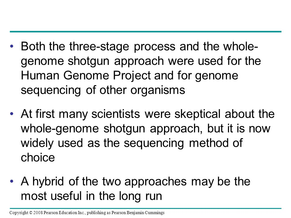 Copyright © 2008 Pearson Education Inc., publishing as Pearson Benjamin Cummings Both the three-stage process and the whole- genome shotgun approach w