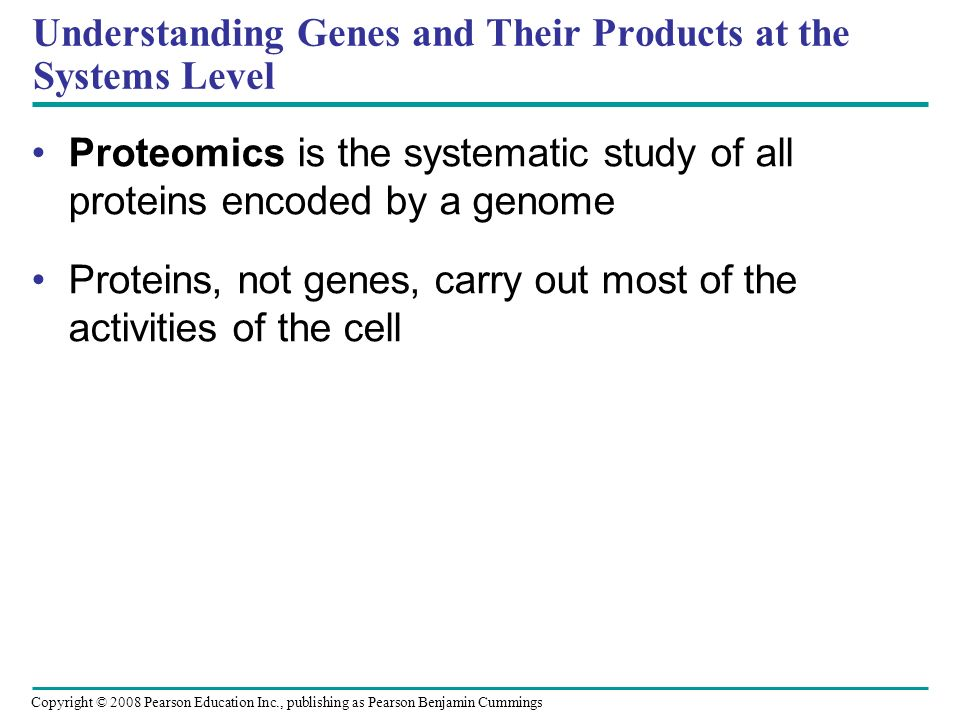 Copyright © 2008 Pearson Education Inc., publishing as Pearson Benjamin Cummings Understanding Genes and Their Products at the Systems Level Proteomic