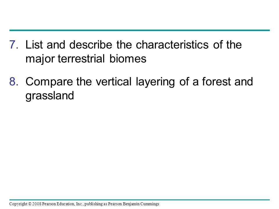 Copyright © 2008 Pearson Education, Inc., publishing as Pearson Benjamin Cummings 7.List and describe the characteristics of the major terrestrial bio