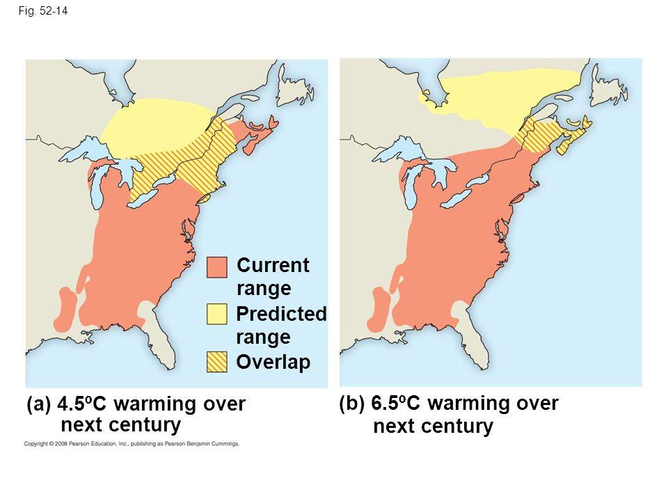 Fig. 52-14 Current range Predicted range Overlap (a) 4.5ºC warming over next century (b) 6.5ºC warming over next century