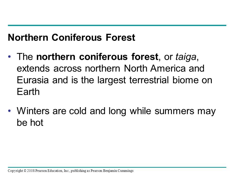 Copyright © 2008 Pearson Education, Inc., publishing as Pearson Benjamin Cummings Northern Coniferous Forest The northern coniferous forest, or taiga,