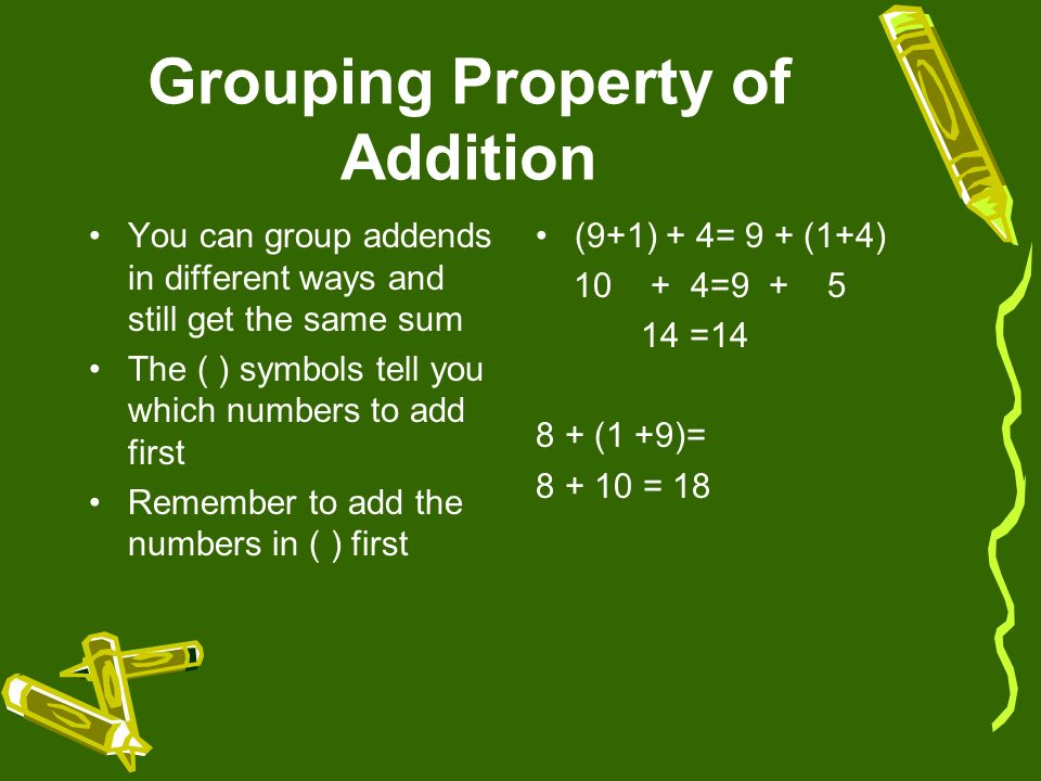 Identity Property of Addition When you add zero to a number, the sum is that number 12+0=12 11+0=11 9+0=9 30+0=30