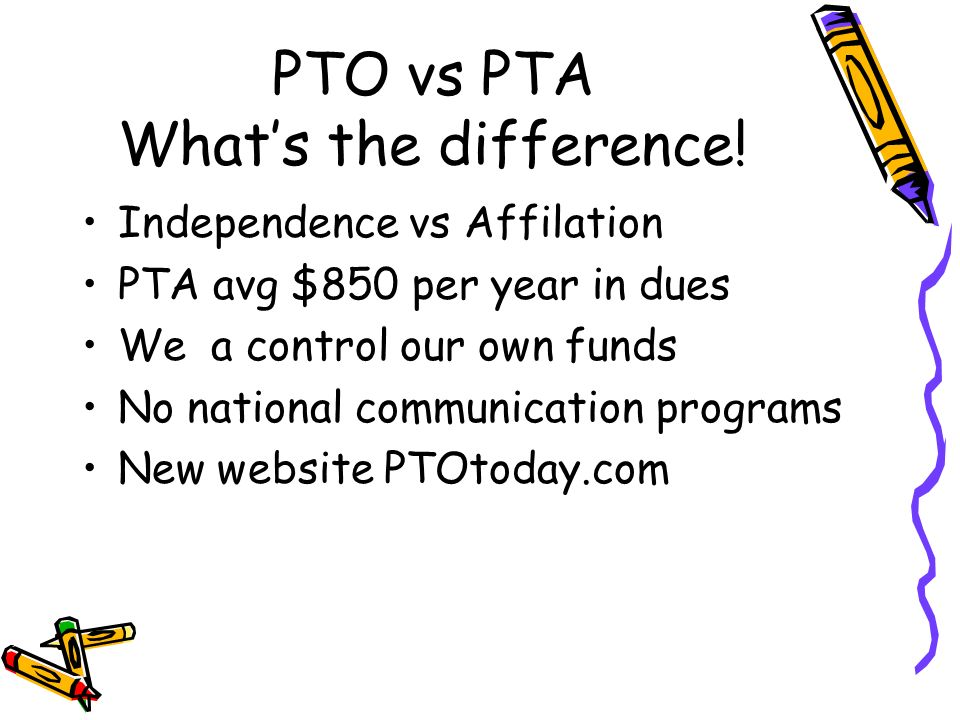 PTO vs PTA Whats the difference! Independence vs Affilation PTA avg $850 per year in dues We a control our own funds No national communication program