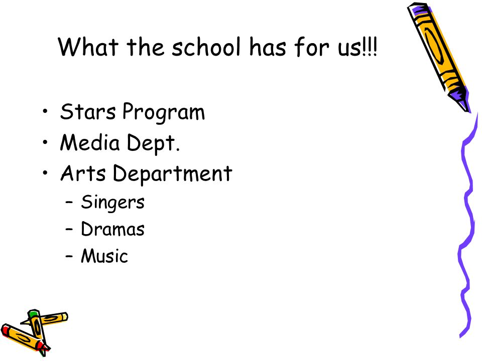 What the school has for us!!! Stars Program Media Dept. Arts Department –Singers –Dramas –Music