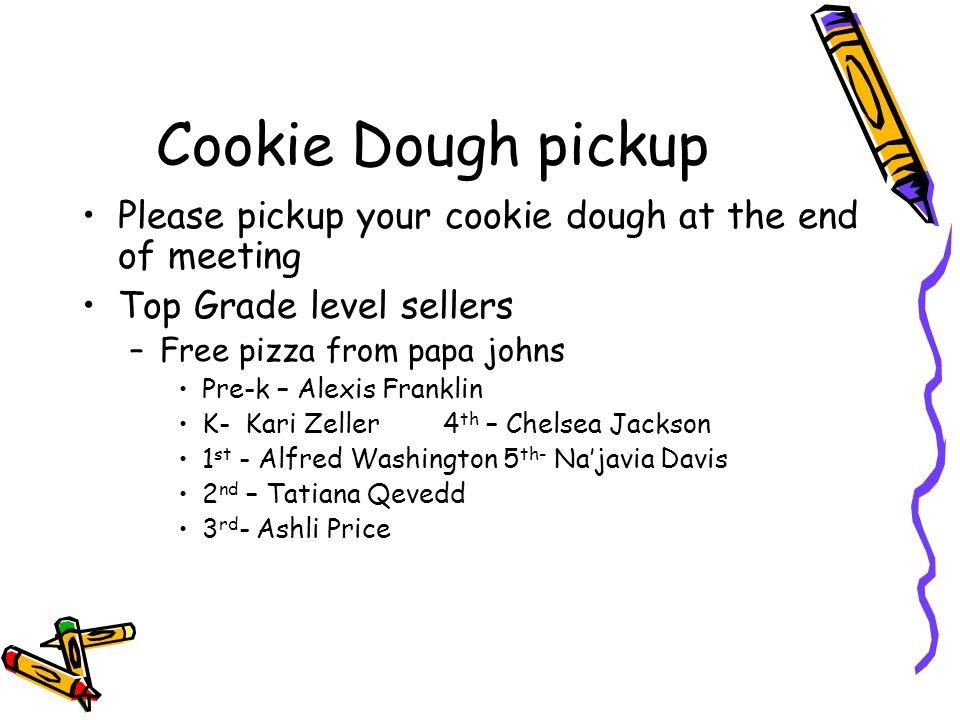 Cookie Dough pickup Please pickup your cookie dough at the end of meeting Top Grade level sellers –Free pizza from papa johns Pre-k – Alexis Franklin