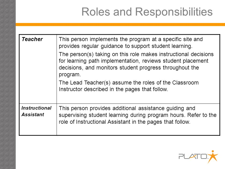 Roles and Responsibilities TeacherThis person implements the program at a specific site and provides regular guidance to support student learning.