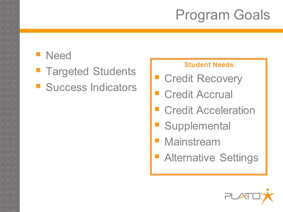 Program Goals Need Targeted Students Success Indicators Student Needs Credit Recovery Credit Accrual Credit Acceleration Supplemental Mainstream Alternative Settings