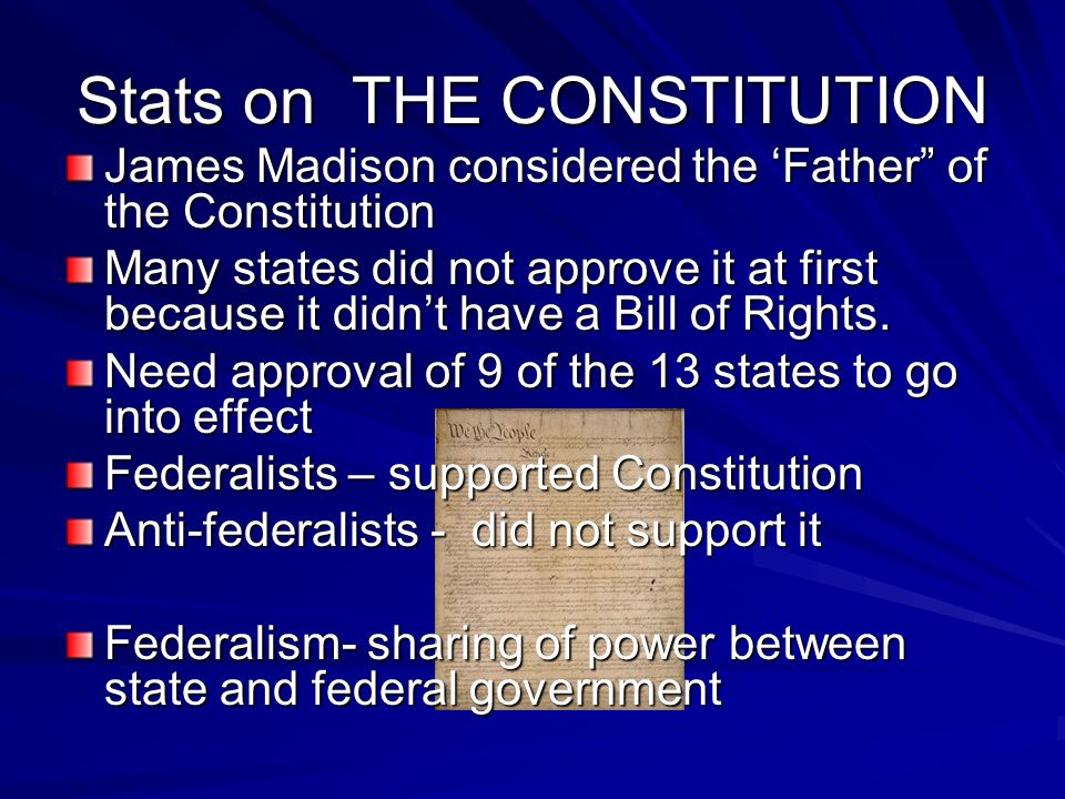 Stats on THE CONSTITUTION James Madison considered the Father of the Constitution Many states did not approve it at first because it didnt have a Bill