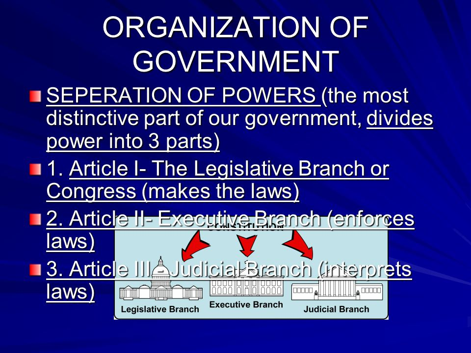 ORGANIZATION OF GOVERNMENT SEPERATION OF POWERS (the most distinctive part of our government, divides power into 3 parts) 1. Article I- The Legislativ