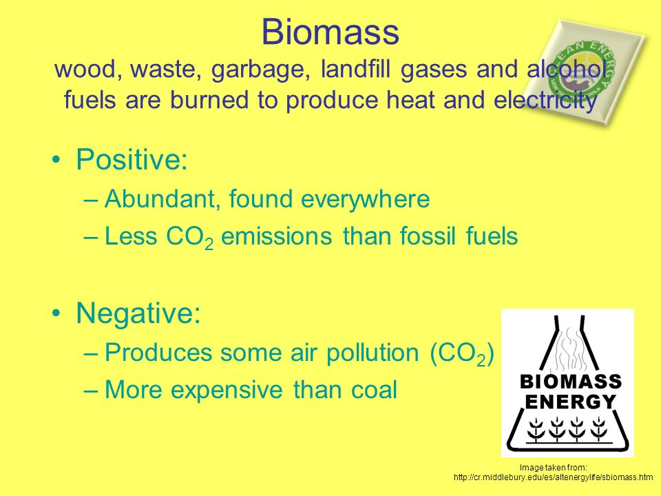 Biomass wood, waste, garbage, landfill gases and alcohol fuels are burned to produce heat and electricity Positive: –Abundant, found everywhere –Less CO 2 emissions than fossil fuels Negative: –Produces some air pollution (CO 2 ) –More expensive than coal Image taken from: