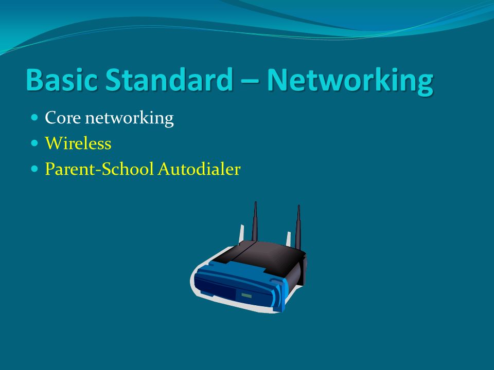 Basic Standard – Networking Core networking Wireless Parent-School Autodialer