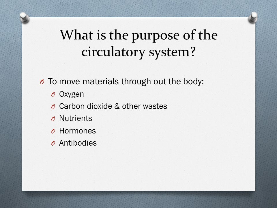 O To move materials through out the body: O Oxygen O Carbon dioxide & other wastes O Nutrients O Hormones O Antibodies